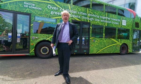 London electric bus with mayor